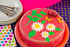 Cheerful birthday cake in still life Stock Image