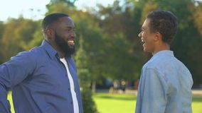 Cheerful black brothers giving high five outdoors, happy family, close relations stock footage