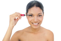 Cheerful black haired model applying mascara Royalty Free Stock Photography