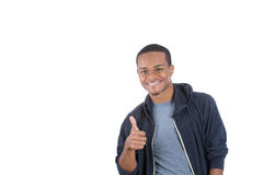 Cheerful black hoody guy showing thumbs up Royalty Free Stock Photo