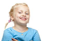 Cheerful blond girl smiles happy at camera. Royalty Free Stock Images