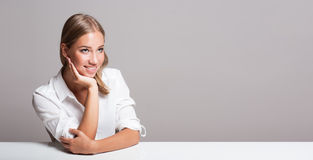 Cheerful blond woman. Stock Image