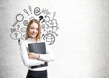 Cheerful blonde businesswoman, internet search Stock Image