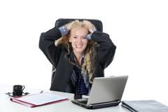 Cheerful blonde in male suit Stock Photography