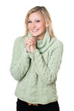 Сheerful blonde in sweater Royalty Free Stock Images