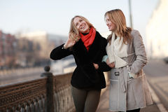 Cheerful blonde for a walk in the city Stock Photo