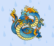 Cheerful blue Chinese dragon against drops. Cheerful blue water Chinese dragon against water drops Royalty Free Stock Images