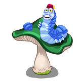 Cheerful blue worm character on green mushroom. Cheerful blue worm character sitting on a green mushroom. Vector illustration in cartoon style on white Royalty Free Stock Image