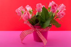 Cheerful bouquet pink roses Royalty Free Stock Photo
