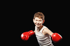 Cheerful boxer Stock Photos