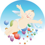 Cheerful boy. Boy angel fly in the sky vector illustration