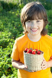 Cheerful boy with a basket of berries Royalty Free Stock Photos