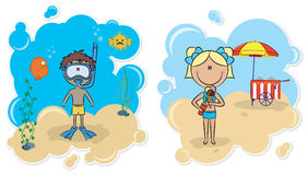 Cheerful boy and beautiful girl on the beach vector illustration