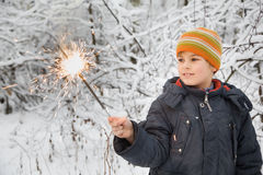 Cheerful boy with Bengal fire in hand in winter Stock Photos
