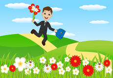 Cheerful boy with a bouquet of flowers to run to school Royalty Free Stock Images