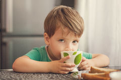 Cheerful boy drinks milk, eats toast for breakfast Stock Images
