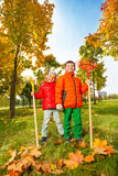 Cheerful boy and girl with rakes standing in park Royalty Free Stock Images