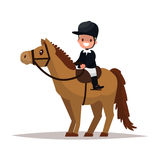 Cheerful boy jockey riding a horse. Vector illustration. Of a flat design royalty free illustration