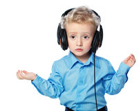 Cheerful boy listening to music Royalty Free Stock Photo