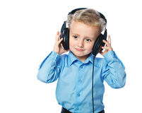 Cheerful boy listening to music Stock Photography