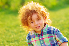 Cheerful boy outdoors Royalty Free Stock Images