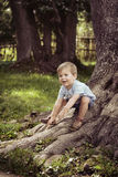 Cheerful boy playing in the park. Cheerful, cute boy playing in the park Stock Image