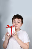 Cheerful boy with present Royalty Free Stock Photography
