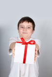 Cheerful boy with present Royalty Free Stock Images