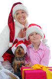 Cheerful boy in Santa Claus hat Stock Photos