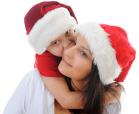 Cheerful boy in Santa Claus hat Royalty Free Stock Photography