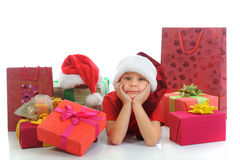 Cheerful boy in Santa Claus hat royalty free stock images