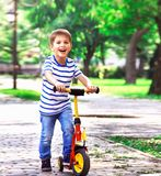 Cheerful boy on a scooter, playing in the park on a background o royalty free stock image
