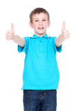 Cheerful boy showing thumbs up gesture. Portrait of cheerful boy showing thumbs up gesture - isolated over white Royalty Free Stock Images