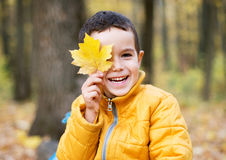 Cheerful boy smiling and hiding behind yellow leaf Stock Images