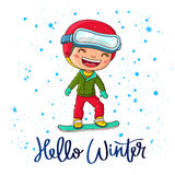 Cheerful boy on a snowboard. Quote Hello Winter. The trend calligraphy. Vector illustration on white background. Cheerful boy on a snowboard. Great holiday gift Stock Image