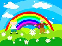 Cheerful boy stands on a rainbow Royalty Free Stock Photography