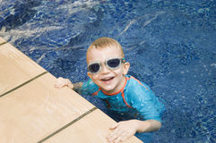 Cheerful Boy In Swimming Pool Stock Photography