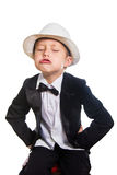 Cheerful boy in a tuxedo and hat Stock Image