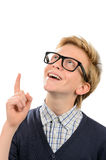 Cheerful boy wearing geek glasses having idea Royalty Free Stock Photos