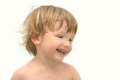 Cheerful boy on white background. In bath Royalty Free Stock Photos