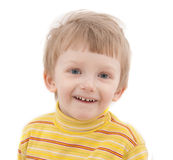 Cheerful boy on white background. Close-up Stock Photo