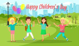 Cheerful Boys and Girls Pass Weekend in City Park. Happy Childrens Day Horizontal Banner. Cheerful Boys and Girls Jumping with Hands Up. Weekend in City Park vector illustration