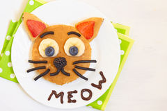 Cheerful breakfast - cat say meow pancakes Stock Photography