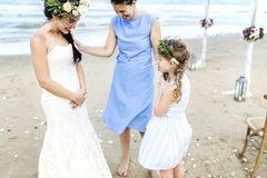 Cheerful bride at the beach Stock Photography