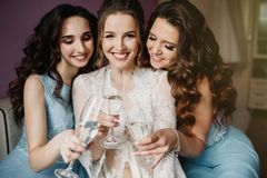Girls Party. Beautiful Women Friends Celebrating And Drinking Ch stock photography