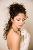 Cheerful bride looking away Stock Images