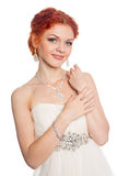 Cheerful bride with red hair Stock Photography