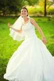 Cheerful bride wedding day Royalty Free Stock Image