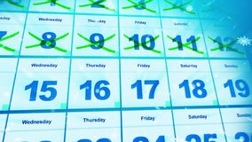 Cheerful and bright calendar dates. Festive 3d rendering of the calendar placed aslant with double crossed dates and white snowflakes. The 12st of January is Stock Photography