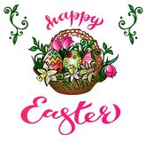 `Happy Easter`: Hand Drawing Greeting Card With Handwritten Congratulation royalty free illustration